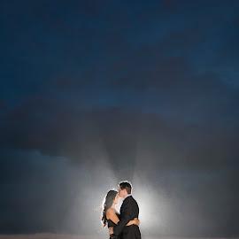 Eternal Love by Yansen Setiawan - Wedding Bride & Groom ( love, kiss, sunset, wedding, romantic, magic hour, bride and groom )