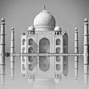 Taj - Beauty in marble... by Pradeep Kumar - Black & White Buildings & Architecture