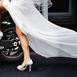Let's Get Out Of Here by Tim Harris - People Body Parts ( sexy, wedding, motorcycle, legs, bride )