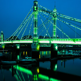 Albert bridge-London by Balan Gratian - City,  Street & Park  Street Scenes ( bridges in night, bridges on thames, albert bridge, bridges, london bridges )