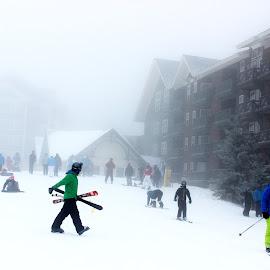 Snow, Mist and Ski by Avishek Bhattacharya - City,  Street & Park  Street Scenes