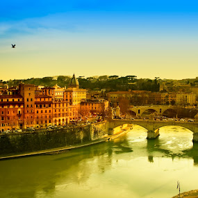 Rome At Dusk by eZeepics Studio - City,  Street & Park  Vistas ( famous, old, europe, italian, pwcreflections, cityscape, architecture, tiber, panorama, city, ancient, buildings, above, italy, water, orange, panoramico, colors, beautiful, scenic, european, landmarks, rome, sunset, arches, bridge, historical, view, river )
