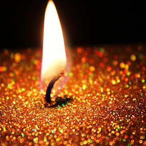 by Emily Schmidt - Artistic Objects Still Life ( candle, pwcfire, gold, pwcstilllife, glitter, flame,  )