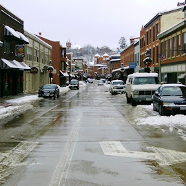 Galena Main Street in Winter by Kathy Rose Willis - City,  Street & Park  Street Scenes ( galena, winter, illinois, snow, main street )