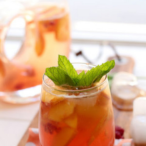 All Natural White Peach Sangria With Mint