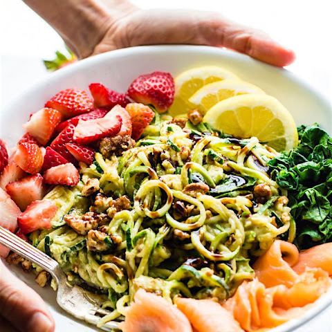Smoked Salmon and Strawberry Zucchini Noodle Pasta Salad {Grain Free, Low Carb}