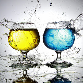 Twin glasses and water by Peter Salmon - Artistic Objects Glass ( water, splash, glasses, pour, glass )