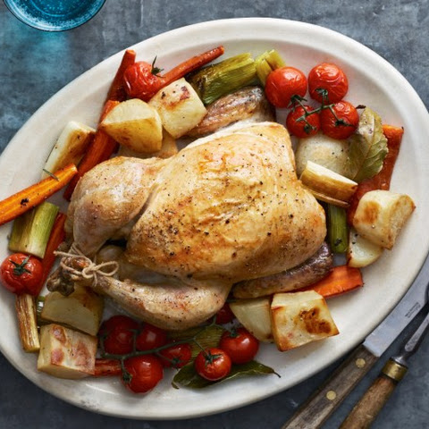 Butter Roasted Chicken with Roasted Vegetables