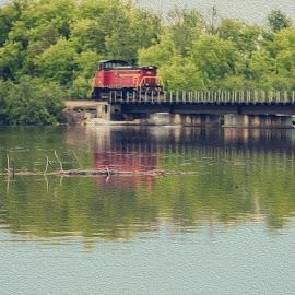 Train Reflections by Amy Louhela - Transportation Trains
