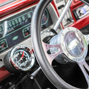 Classic Truck Interior by Kevin Pastores - Transportation Automobiles ( car, interior, red, wheel, chrome, steering, old-fashion, round, gage, gauges, classic, shiny )