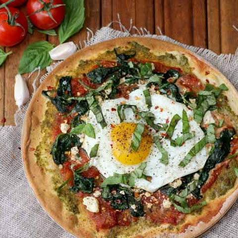 Garlicky Greens and Fried Egg Breakfast Pizza