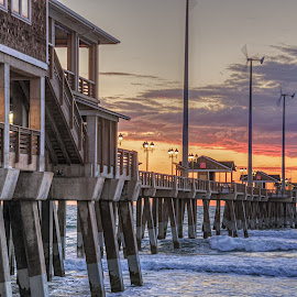 Jennette's Pier by Jeremy Yoho - Buildings & Architecture Other Exteriors ( clouds, water, wood, sunset, pier, ocean, sunrise, fishing, concrete )