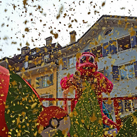 confetti all over by Nele Hölzer - Instagram & Mobile Android ( solothurn, confetti, carnival, street, city )