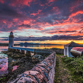Eilean Ban Lighthouse by Graham Kidd - Buildings & Architecture Other Exteriors ( water, clouds, reflection, red, sunset, lighthouse, yellow, wall )