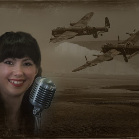 Forces Sweetheart by Corin Spinks - Digital Art People ( cliffs, microphone, girl, sea mist, 1940s, bomber, white, sea, singer, lancaster,  )