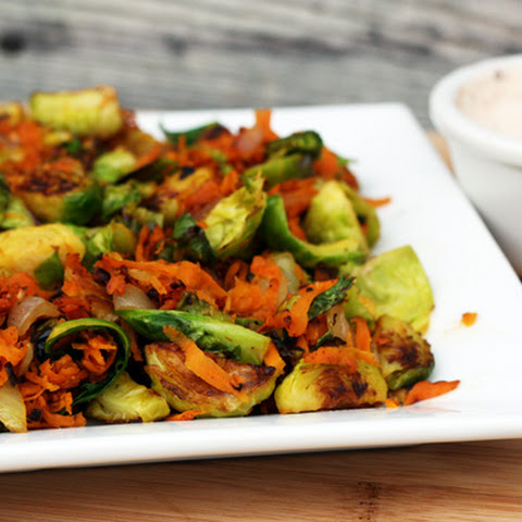 Sweet Potato and Brussels Sprouts Hash With Chipotle Crema