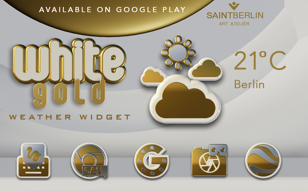 White Gold Clock Widget Screenshot 6