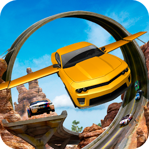 Flying Car Stunts On Extreme Tracks New App on Andriod - Use on PC