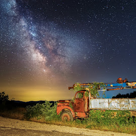 The lost truck by Grigoris Koulouriotis - Transportation Automobiles ( truck, stars, long exposure, road, rust, milky way, nightscape, decay, abandoned )