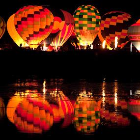 Night Glow by Tom Cuccio - Transportation Other ( hot air balloon, reflection, colorado )