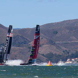america's cup on San Francisco Bay by Janet Marsh - Transportation Boats ( americas cup, san francisco )
