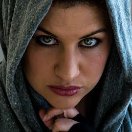 Eyes by Samantha Jansen - People Portraits of Women ( woman, intense, head scarf, eyes )