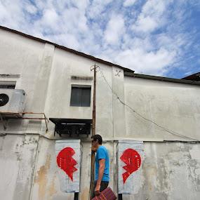 im a broken heart person by Firdaus Hadzri - City,  Street & Park  Street Scenes ( mural painting, penang, broken heart, firdaus hadzri, street photography )