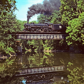 Steam Engine Reflected by Reuss Griffiths - Transportation Trains ( steam engine, cuyahoga valley nat'l park, trestle, reflections )