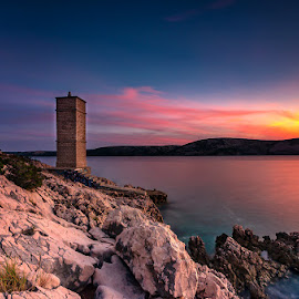 Punta Deda - Pag by Tomaž Mikec - Landscapes Sunsets & Sunrises ( rock - object, sky, coastline, lighthouse, nature, dusk, night, famous place, water, sea, summer, red, blue, outdoors, sunset, beach, travel, landscape, scenics, tower )