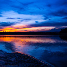 After Dusk by Gurucharan Shamji - Landscapes Sunsets & Sunrises ( orange, sun set, blue, dusk, river )