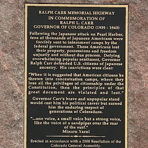 Location on U.S. 285 at Kenosha Pass. More on Governor Ralph L. Carr here. Plaque text: In Commemoration of Ralph L. Carr Governor of Colorado (1939-1943) Following the Japanese attack on Pearl ...