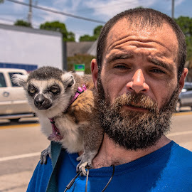 Adam and Buddha by Prentiss Findlay - People Street & Candids ( pets, ring-tailed lemur, service animal, people and pets, animals )