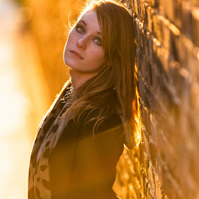 by Torey Searcy - People Portraits of Women ( woman, sunflare, wall, portrait, alley )