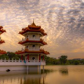 Chinese Gardens - Singapore by Prosenjit Saha - Buildings & Architecture Statues & Monuments ( sunset, cloudscape, landscape, chinese, singapore,  )