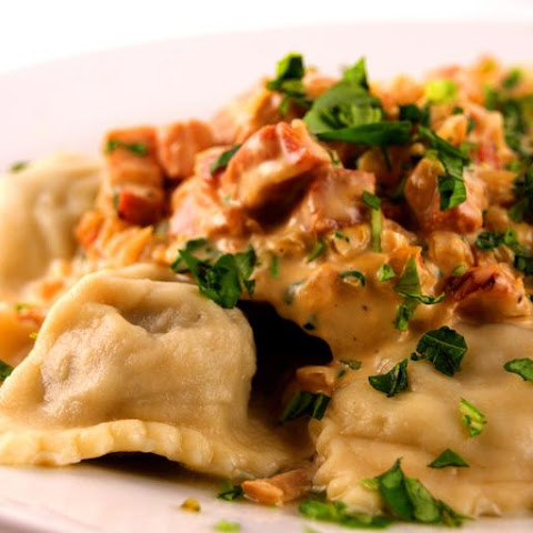 Mushroom Ravioli with Pancetta and Parmesan Sauce