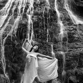 waterfall by Urban Meglič - Nudes & Boudoir Artistic Nude ( sexy, girl, waterfalls, black and white, waterfall, hot, women )