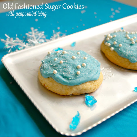 Old Fashioned Sugar Cookies with Peppermint Icing