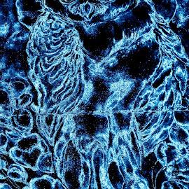 Digital chalk art by Mark Sarden - Digital Art Things ( moon, digital art, owl, digital, photography )