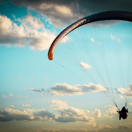Paragliding by Aris Canis von Furcsoara - Sports & Fitness Other Sports ( flying, paragliding, blue sky, sky, dawn, sunset, sky diving )