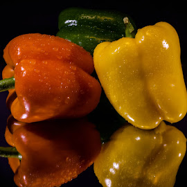 by Dale Pausinga - Food & Drink Fruits & Vegetables ( orange, reflection, green, vegetables, pepper, yellow )