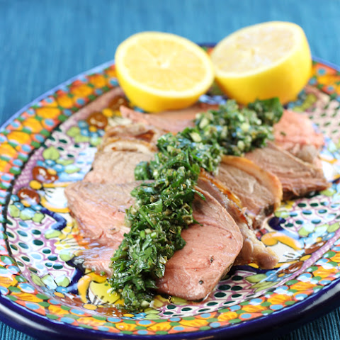 Roasted Leg of Lamb with Mint Salsa Verde