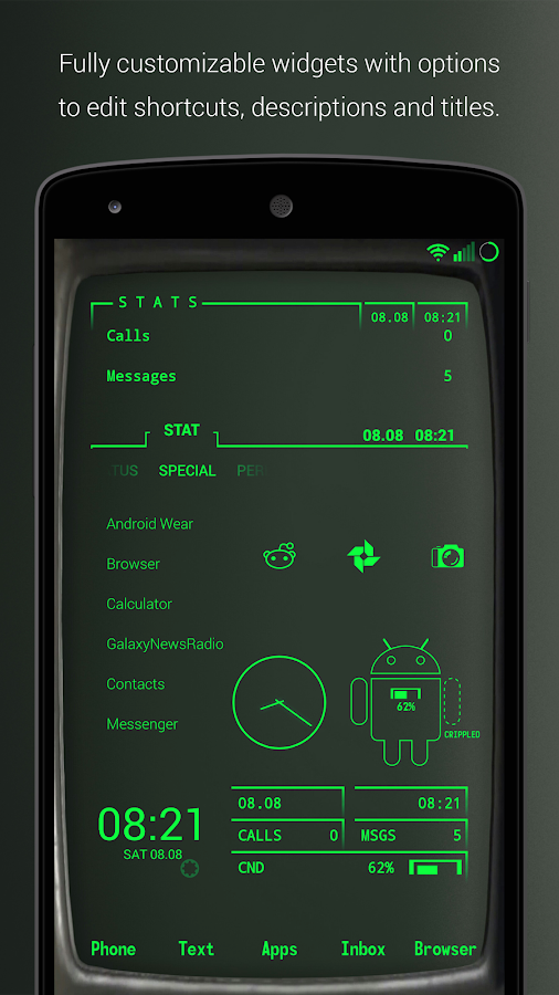 PipTec Pro - Green Icons & Live Wallpaper Screenshot