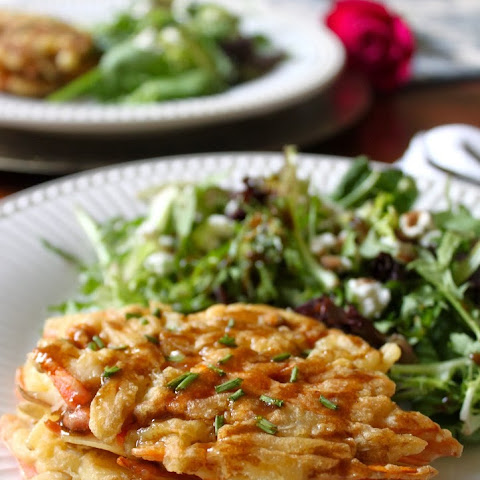 Potato Goat Cheese Cakes with European Salad