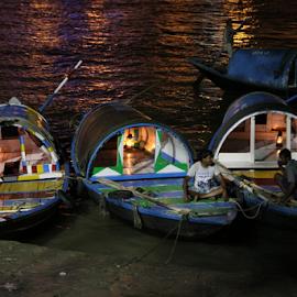 Threesome by Pradip Chowdhury - Transportation Boats ( boatmen, kolkata, boat, river, prinsep )