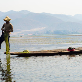 Inle Boat Rower - Burma by Ari Reddy - Landscapes Travel