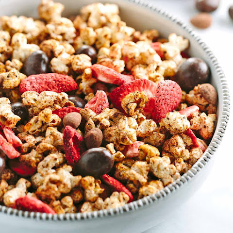 Chocolate Almond Aztec Popcorn with Strawberries