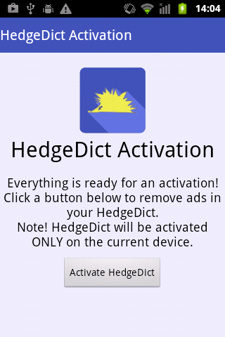 HedgeDict Activation - screenshot
