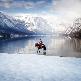 Silent Water by Maja Lesar - Landscapes Waterscapes ( water, mountains, cowboy, nature, horse, lake, quiet, nikon, landscape )