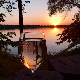Whatever you do, pour yourself into it.                                   Robert Mondavi 🍷 by Lou Ann Marks - Food & Drink Alcohol & Drinks ( reflection, peaceful, relax, sunset, wine glass )