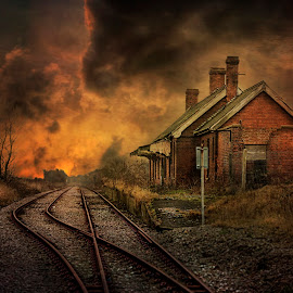 Lydd Station by Dave Godden - Buildings & Architecture Decaying & Abandoned ( romney marsh, station, texture, kent, track, marsh, tracks, lydd, lydd railway station, lydd station, railway, textured, rail, romney, derelict, abandoned )